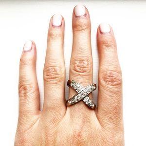 Vintage silver & rhinestone crisscross ring